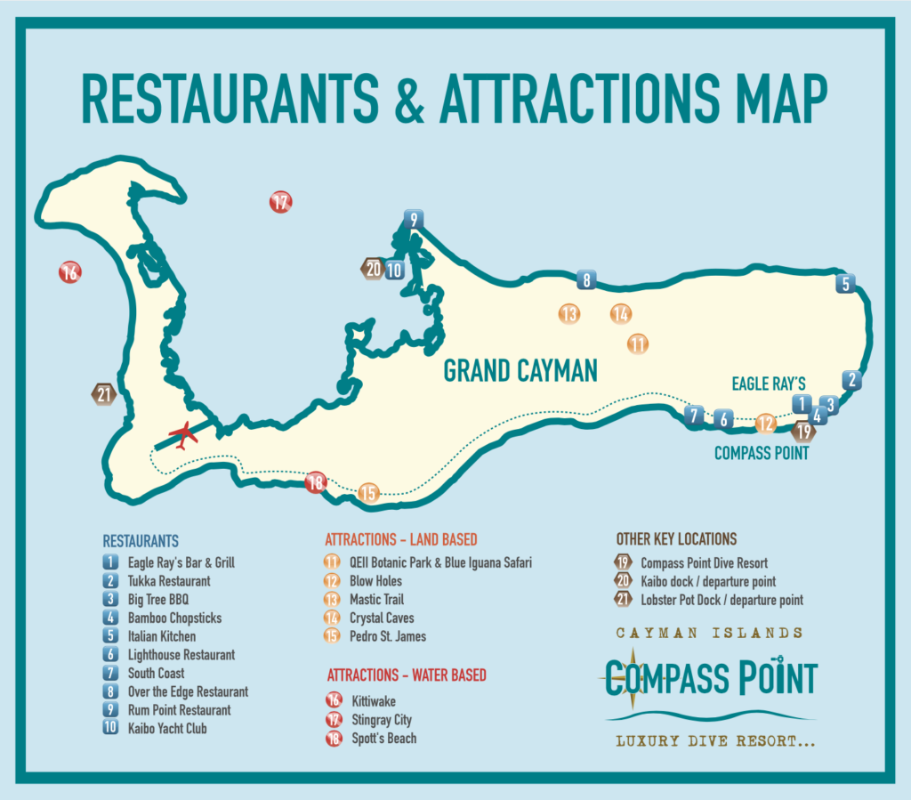 Grand Cayman Compass Point Scuba Diving Map